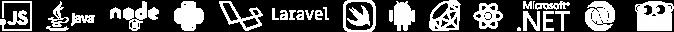 Technology logos: Javascript, Java, Node, Python, Laravel, Swift, Android, Ruby, React, .NET, Clojure