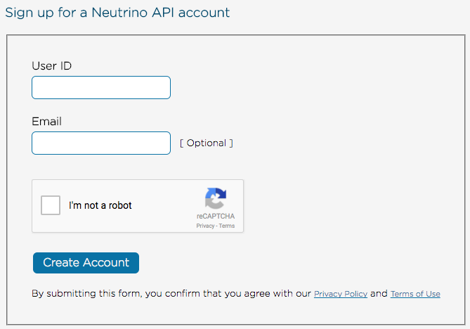 Neutrino sign up
