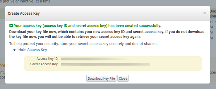 Copy the access key ID and secret key