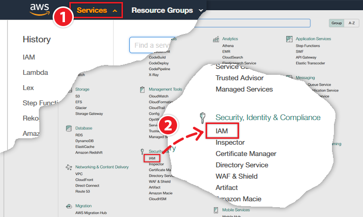 Select the IAM service